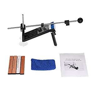 KKmoon - Afilador, Mejorado Afilador de Cuchillos de Cocina, Afilador Cuchillos Profesional, Sistema de Kits Sharpemaker Ángulo Fijo, con 4 Piedras