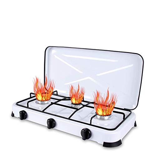 Qdreclod Camping Cocina de Gas 3 Quemadores con Tapa, Quemadores de Cocina de Gas a Prueba de Viento Al Aire Libre,Apta para Macetas de Miferentes Diámetros