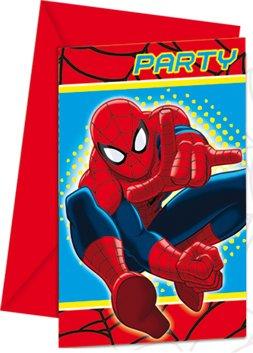 6 Cartes d'invitations Spiderman - taille - Taille Unique - 219737