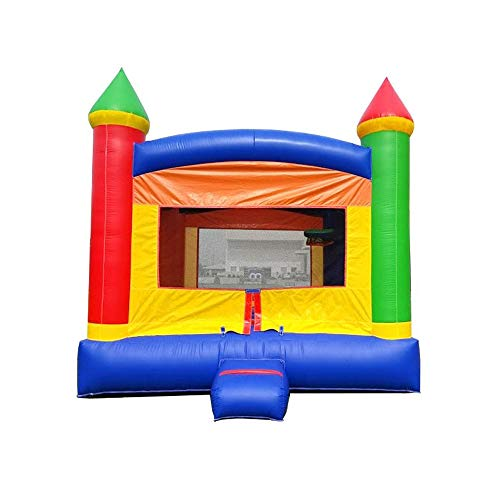 Inflatable Bounce House - 13' Foot x 12' Foot Bouncy Area - Crossover Rainbow Castle Complete Setup - Includes: Commercial Blower, Stakes, Repair Kit, and Storage Bag