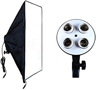 4 socket E27 Bulb lamp holder with 50cm x 70cm softbox for Photography Videography