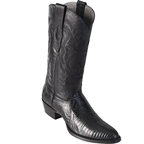 Original Black Lizard Teju Skin Round Toe Boot Black Lizard Cowboy Boots
