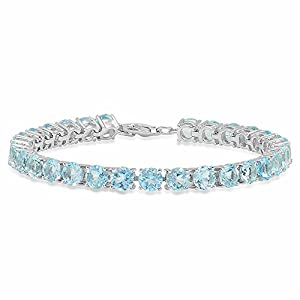 Round Cut Aquamarine Ladies Tennis Bracelet (7 Inch Length x 5.1 MM Wide), Sterling Silver
