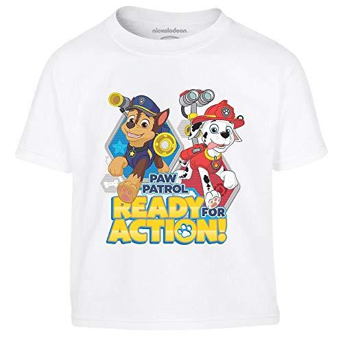Chase e Marshall di Paw Patrol - Official Nickelodeon Maglietta per Bambini 3-4 Anni Bianco