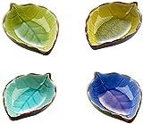 ProLeo, 4 mini ciotole in ceramica a forma di foglie, realizzate a mano, in ceramica, set di 4 colori