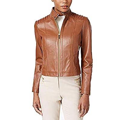 Michael Kors Women's Moto Leather Jacket (Large) Cognac