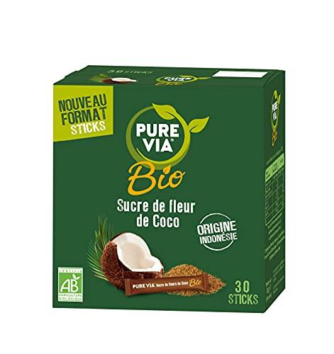 Pure Via Sucre de Fleur de Coco Bio, 30 Sticks, 30 Unités