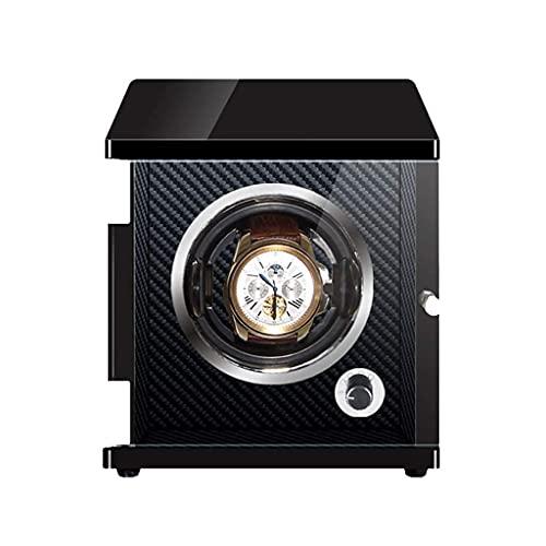 XXSHN Devanadera automática de Lujo con 1 bobinadora Iluminación LED Motor japonés Mabuchi Carcasa de Madera Fibra de Carbono PU Cuero Almohada Caja de Almacenamiento