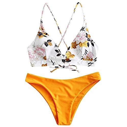 ZAFUL Damen zweiteilig Bikini-Set mit Blumenmuster verstellbarem BH Push-Up Rücken, Triangle Einfarbig Badehose Sommer (Gelb1, M)