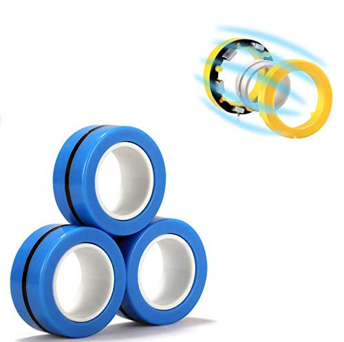 LENDOO Stress Relief Magnetic Rings - Fidgeting Game for Anxiety Relief Focus Decompression - Finger Fidget Toys - Magic Mini Finger Hand Spinner Gadget Rings - Funny Novelty Gifts (3pcs-Blue)