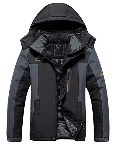 R RUNVEL Mens Waterproof Coats Winter Jackets for Men Hiking Ski Rain Warm Fleece Walking Windbreaker Parka Mountain Outdoor Work Jacket Coat Black,UK M, fit chest 38.5''-39.5