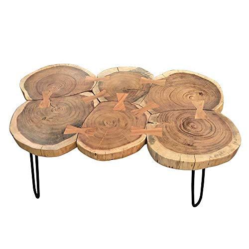 Pharao24 Design Couchtisch aus Massivholz und Metall