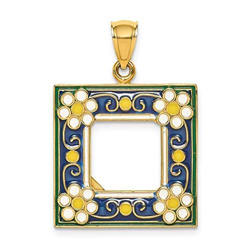 Bilderrahmen, 14 kt Gold, Marineblau mit weißen Blumen