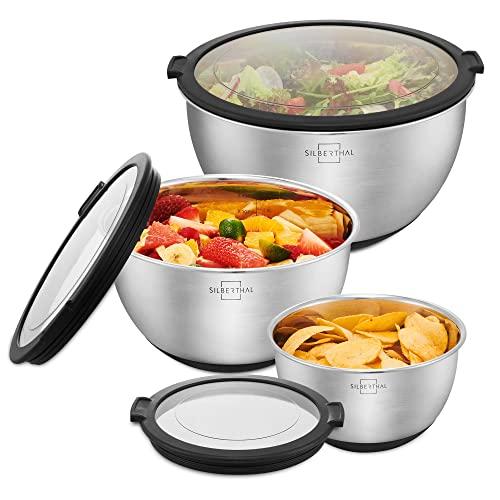 SILBERTHAL Set cuencos acero inoxidable con tapa hermetica cocina | Boles para ensalada acero inoxidable antideslizante 1,4L / 2,8L / 4,7L