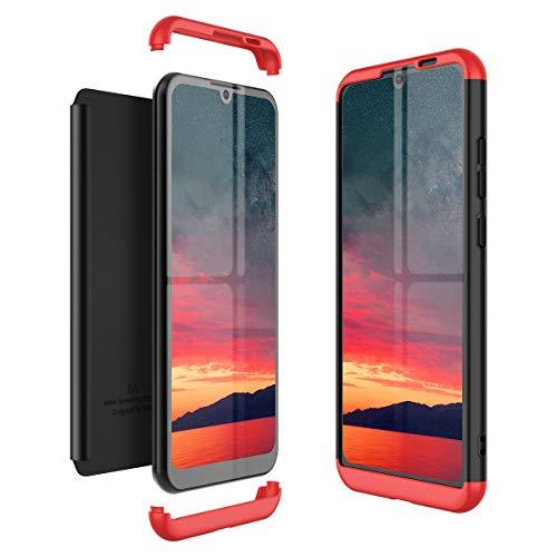 Winhoo Kompatibel mit Huawei Honor Play 8A Hülle Hardcase 3 in 1 Handyhülle 360 Grad Schutz Ultra Dünn Slim Hard Full Body Hülle Cover Backcover Schutzhülle Bumper - Schwarz + Rot