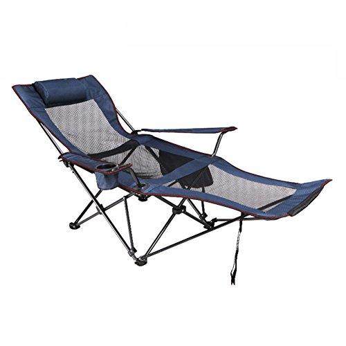 HM&DX Outdoor Klappstühle Camping stühle mit fußablage Verstellbar Kompakt Edelstahl Campingstühle klappstuhl Für Camping wandern Strand Angeln Garten -blau