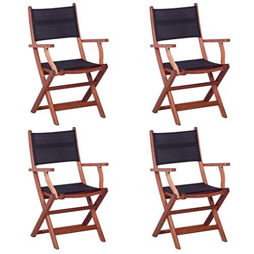Tidyard 4-er Set Stuhl,Gartenstuhl Hochlehner- praktischer Klappstuhl - Eukalyptusholz Massiv und Textilene - wetterfeste Gartenmöbel – Schwarz