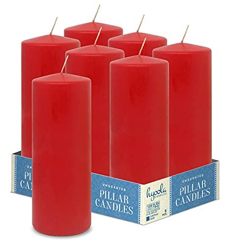 HYOOLA - Candele a colonna rosse, 7 x 20 cm, senza profumo, confezione da 6