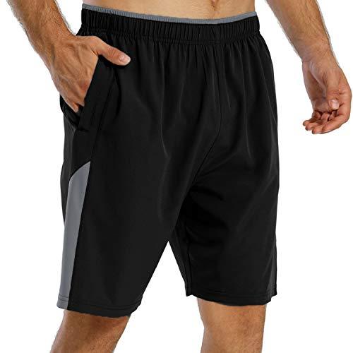 FAFAIR Sport Shorts Herren Sommer Laufshorts Schnell Trocknend Kurze Hose mit Reißverschlusstasch Black-Grey M