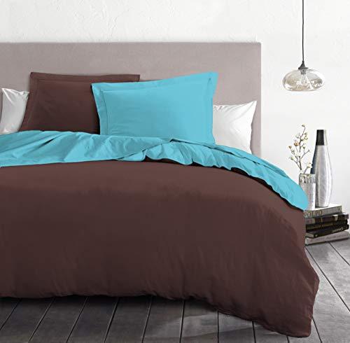 Home Linge Passion Parure de Couette 3 Pièces 220x240 cm, Bicolore Turquoise, Microfibre, Chocolat-Turqouise