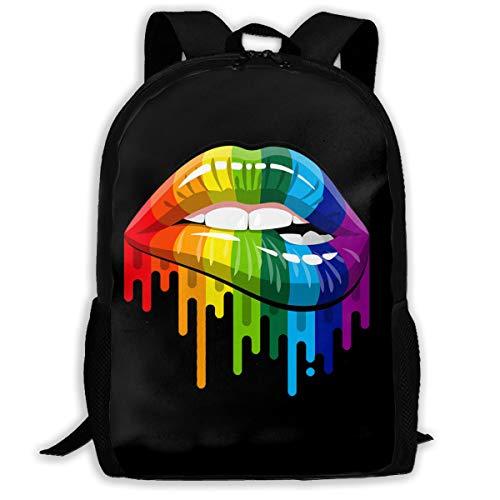 High-Capacity Unisex Adult Backpack Gay Homosexual Lesbian Rainbow Lips Bookbag Travel Bag Schoolbags Laptop Bag
