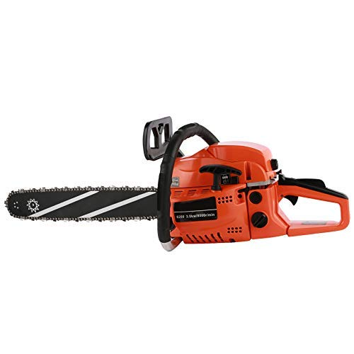 62CC Gas Chainsaws 20-Inch 2-Cycle,2021Chainsaw with 2 Stroke Handed Petrol Chain, Goggles, Gloves and Tool Kit for Cutting, Orange
