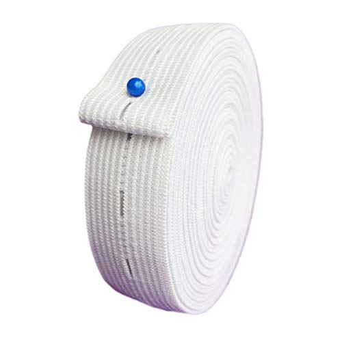 3/4' Inch x 5 Yards Buttonhole Sewing Elastic Bands - Button Hole Flat Elastic Bands Spool Knit for DIY Pants Waist Waistband Adjustable Craft Sewing Garment (White)