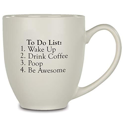 """Lustige Kaffeetasse mit Aufschrift \""""To Do List\"""", 400 ml, große Keramik-Kaffee- und Teetasse, tolles Geschenk und Neuheit, ideal für Zuhause und Büro, Weiß"""