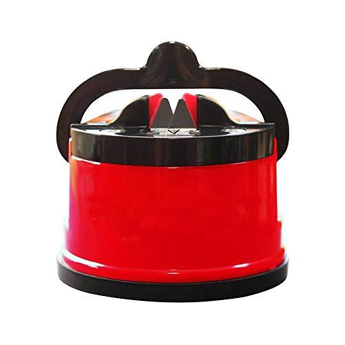 LHK Aiguiseur de Couteaux à Ventouse, aiguisage de Couteaux, Outil de Chef Rapidement terne de précision Portable, pour Atelier de Cuisine, salles d'artisanat, Camping, randonnée [Rouge]
