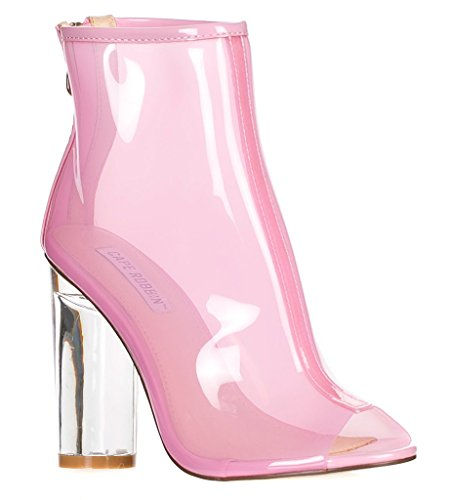Cape Robbin Benny-1 Open Toe Block Chunky Clear Perspex Heel Ankle Boot Bootie Shoe,Pink,8.5