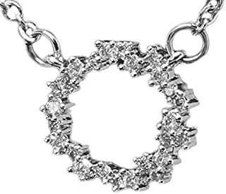 S925 Sterling Silver Open Circle Eternity Necklace. Rhodium Plated w/ 25 AAA Cubic Zirconia Diamonds. 18