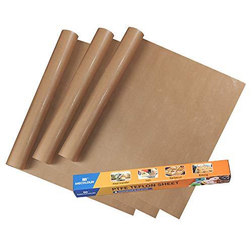 "MECOLOUR 3 Pack PTFE Teflon Sheet for Heat Press Transfer Sheet Non Stick 16 X 20"" Heat Transfer Paper Reusable Heat Resistant Craft Mat"