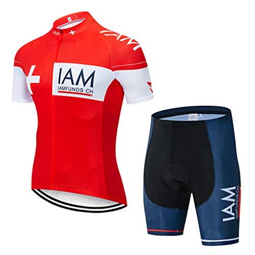 Conjunto De Ciclismo para Hombre,Maillot Ciclismo Hombre Corta Ropa Ciclismo + Culote con 3D Almohadilla De Gel para Bicicleta Montaña Conjunto Ciclismo Deportivo (13,S)
