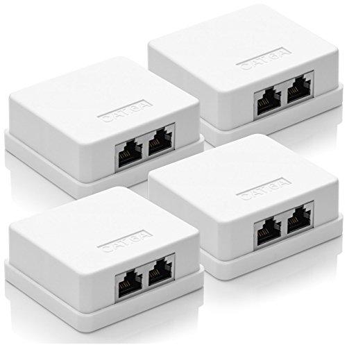 deleyCON 4X CAT 6a Netzwerkdose 2X RJ45 Buchse FTP geschirmt Aufputz Montage 10 Gbit Ethernet Netzwerk LAN Dose RAL 9003 Weiß