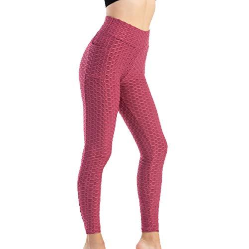 Leggins Mujer Push Up Color sólido Panal Arrugado Bolsillos Pantalon Deportivo Seamless Cintura Alta Mallas Mujer Running para Reducir Vientre
