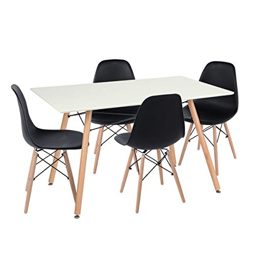 FurnitureR Dining Set White Square Table & Set of 4 Black Chairs Modern Retro Design Side Chairs Desk for Dining Room Waiting Room Kitchen