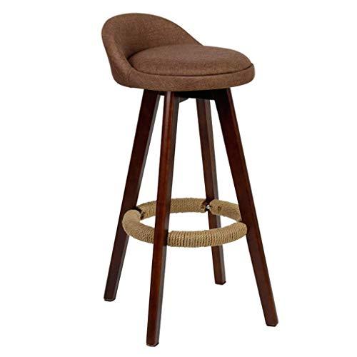 MTCGH Stühle, Hochstühle, Bar Stühle, Hocker Vintage Swivel Bar Hocker Stühle Höhe Fußstütze Essenszähler Frühstück Cafe Küchentextil Gepolstert,Braun