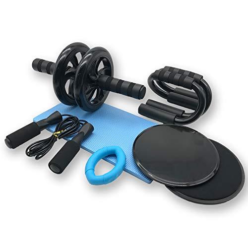 Azeekoom 8 in 1 Ruota Addominali Set - AB Wheel Roller + Tappetini da Yoga + 2 Dischi Scorrevoli + 2...