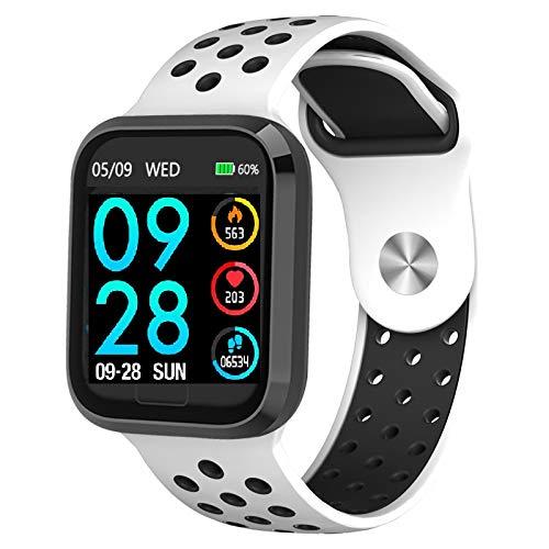 Smartwatch Fitness Tracker Uhr Armbanduhr Schrittzähler Blutdruckmessung Uhr Pulsuhr Schlafmonitor Wasserdicht SMS Anruf Jugendlichen Damen Herren IOS ab 8,0 Android ab 4,4 (weiß)