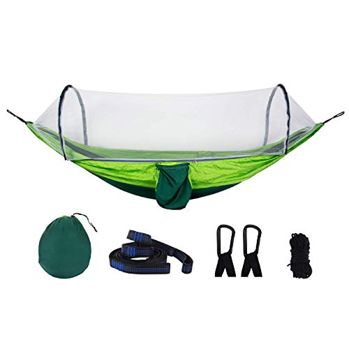 Camping Hammock Outdoor Portable Automatic Quick Opening Mosquito Net Hammock Garden Sofa Swing Simple Tent on The Tree Parachute Cloth Anti-Mosquito Swing Hammock (Green)