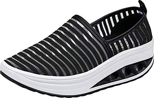 Mocassini da Donna Scarpe da Guida Primavera Estate Casuali Piatto Scarpe da Barca Loafers Slip On Sandali Nero 39EU=40CN