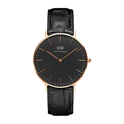 Daniel Wellington Classic Reading Orologio Unisex Adulto, 36mm, in Pelle, Nero/Oro Rosato
