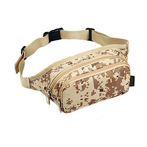 Pochette étanche poches à fermeture éclair Fanny Pack Sac banane pour randonnée/sport Camouflage