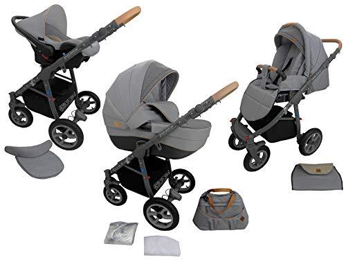 Neues Modell TOMAS Kinderwagen MONO Kombikinderwagen 3in1 System 9 Farben wählbar, grau