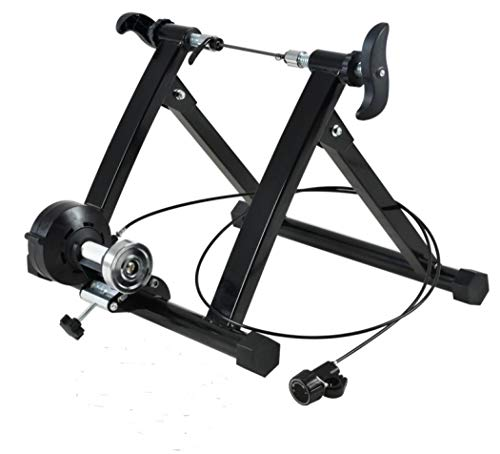 Coocle Bicycle Turbo Trainer, Foldable Indoor Bike Trainer Stand Noise Reduction Iron Frame, Magnetoresistive Riding Platform Turbo Trainer for Road and Mountain Bicycles (21-24 inch wired)