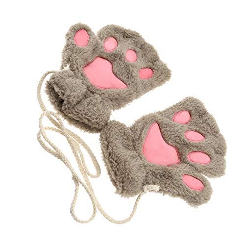 OTOTEC Fingerlose Handschuhe für Damen und Mädchen, mit Katzenpfoten, aus weichem Plüsch, khakifarben