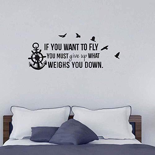 Muurstickers Art Decal Vinyl Murals Als u wilt vliegen moet geven vogels Anker Rudder slaapkamer DIY verwijderbare huis 70X30cm