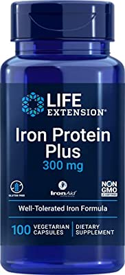 Life Extension Iron Protein Plus 300mg, 100 Capsules