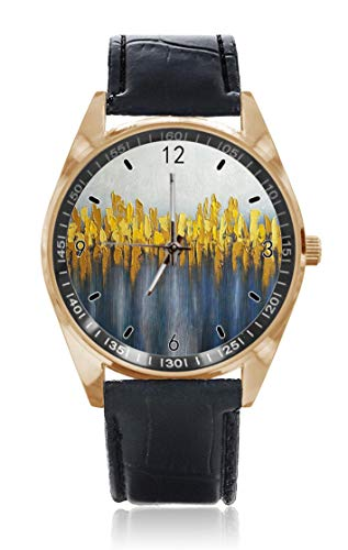 Choeter Armbanduhr, Grau / Gelb / Blau, Ölgemälde, personalisierbar, wasserdicht, Edelstahl, Quarz-Armbanduhr mit austauschbarem Lederband