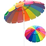 PIEDLE Portable Beach Umbrella 7.5' with Air Vent Parasol Sun Shelter, UV 50+ Protection Beach Umbrella with Carry Bag for Patio Beach Outdoor Use, Rainbow (No Anchor)